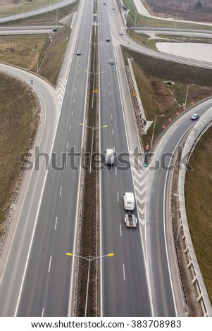 aerial view of highway in Poland - stock photo