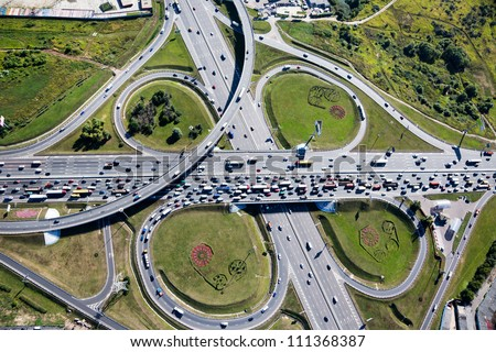 Aerial view of highway interchange in Moscow city, Russia - stock photo