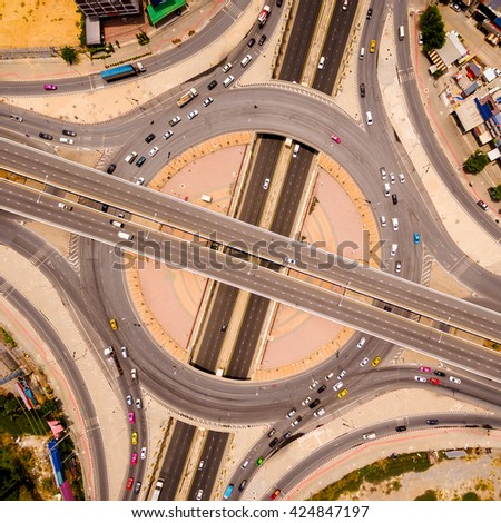 Aerial view of highway interchange of a city,  Top view over the road and highway  - stock photo
