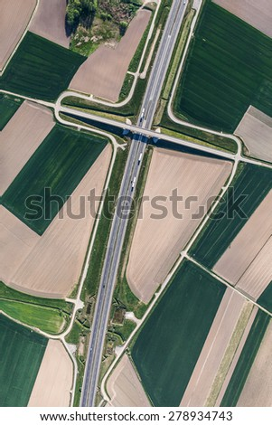 aerial view of highway near Olesnica town in Poland - stock photo