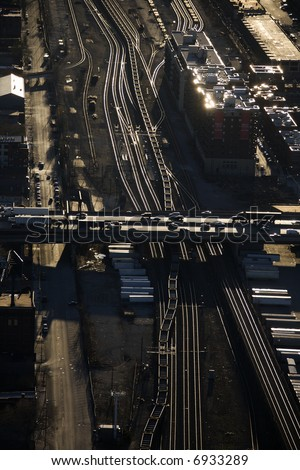 Aerial view of highway overpass and railroad tracks in Chicago, Illinois. - stock photo