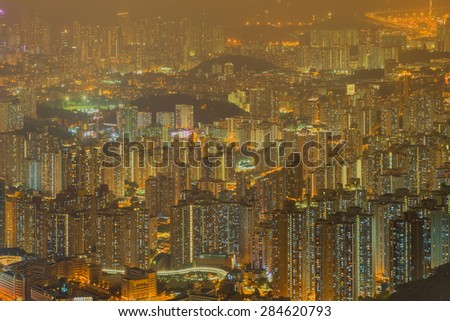Aerial view of Hong Kong skyline from kowloon Peak - stock photo