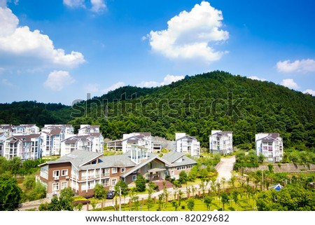 Aerial view of houses, beautiful environment - stock photo