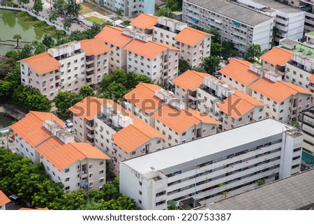 Aerial view of houses in residential area - stock photo