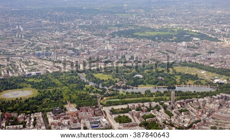 Aerial View of Hyde Park and Kensington Gardens in Central London - stock photo