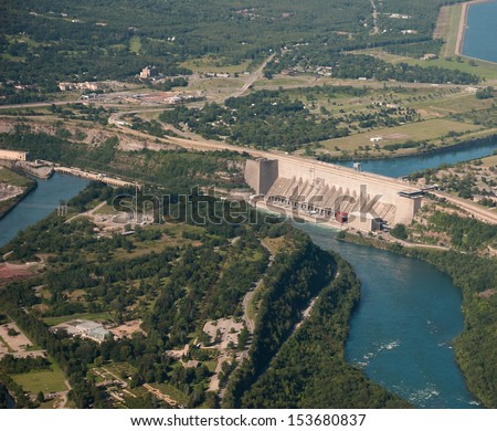 Aerial view of hydro electric plant and dam on Niagara River - stock photo