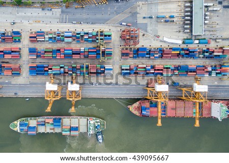 Aerial view of Industrial shipping port in Thailand. - stock photo