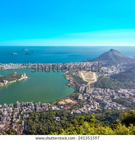 Aerial view of Ipanema Beach and Lagoa Lake, Rio de Janeiro - stock photo