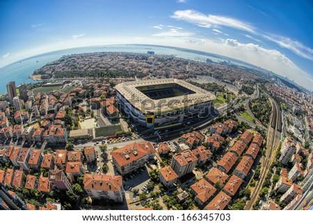 Aerial view of Kadikoy and Sukru Saracoglu Stadium - stock photo