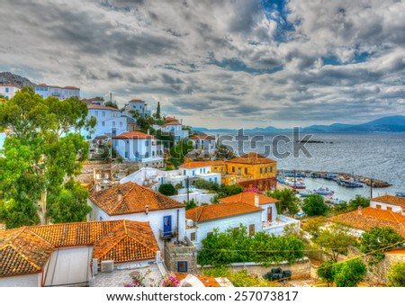 aerial view of Kamini village  at Hydra island in Greece. HDR - stock photo