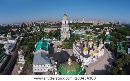aerial view of Kiev-Pechersk Lavra at spring - stock photo