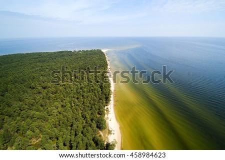 Aerial view of Kolka cape, Baltic sea, Latvia. - stock photo