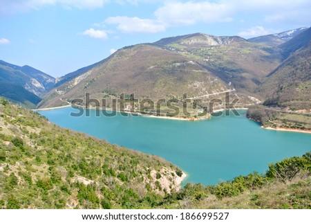 Aerial view of Lake Fiastra, Macerata - Italy - stock photo