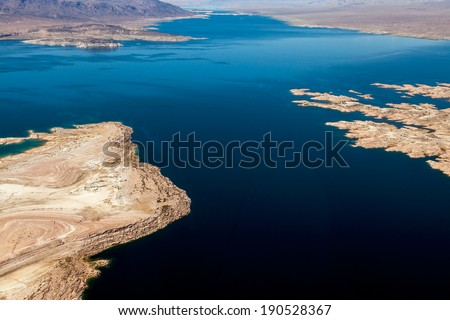 Aerial view of Lake Mead - stock photo