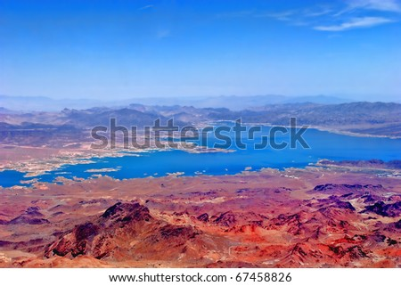 Aerial view of Lake Mead in Nevada - stock photo