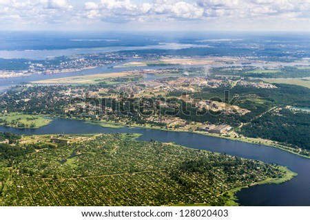 Aerial view of Latvian industrial and residential area - stock photo