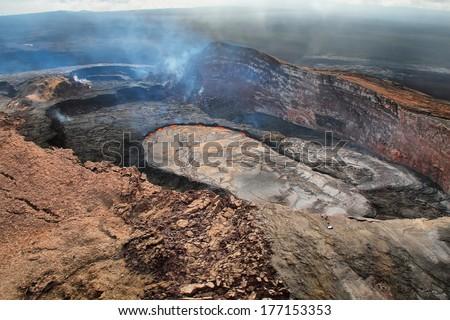 Aerial view of lava lake of Puu Oo crater of Kilauea volcano in Big island, Hawaii - stock photo