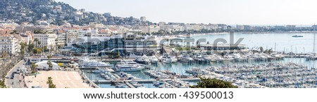 aerial view of Le Suquet- the old town and Port Le Vieux of Cannes, France - stock photo