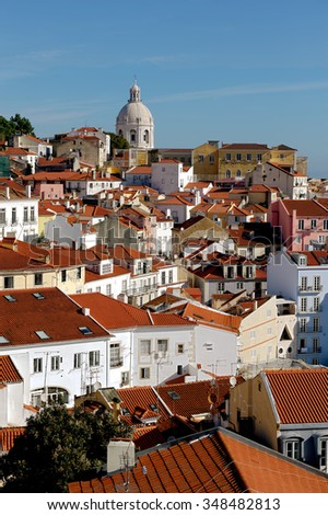 Aerial view of Lisbon (Portugal) and 17th-century monument Church of Santa Engracia overlooking Tagus river. In the 20th century the church has been converted into the National Pantheon.  - stock photo