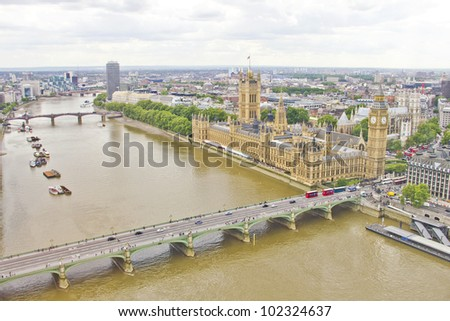 Aerial view of London - stock photo