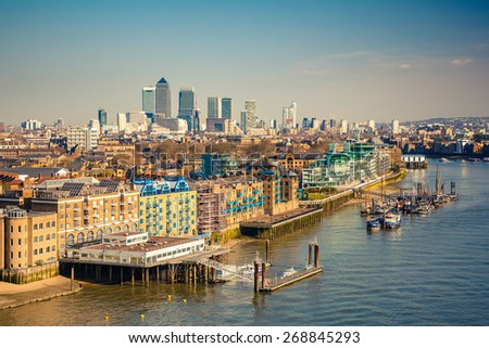 Aerial view of London City - stock photo