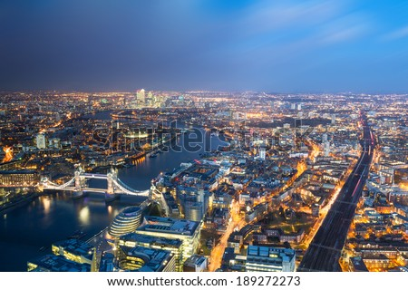 Aerial view of London towards Tower bridge - stock photo