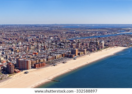 Aerial view of Long Island in New York, USA. It is the westernmost residential and commercial neighborhood of the New York City borough of Queens.  - stock photo