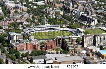 aerial view of Lords cricket ground, London - stock photo