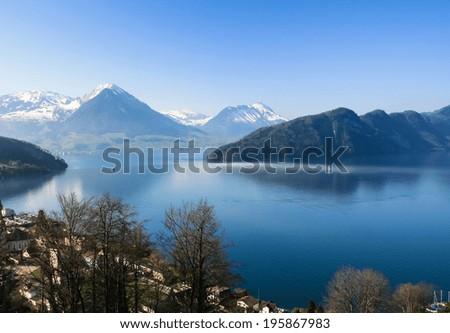 Aerial view of Lucern lake from Mt.Rigi, Switzerland - stock photo