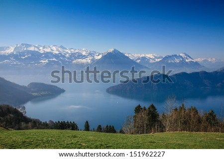 Aerial view of Lucerne lake with swiss alpine in summer, Switzerland - stock photo