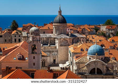 Aerial View of Luza Square, Saint Blaise Church and Assumption Cathedral from the City Walls, Dubrovnik, Croatia - stock photo