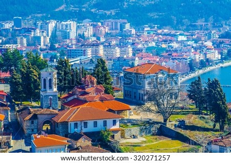 aerial view of macedonian city ohrid, which is famous for its unesco listed historical center and beautiful lake separating macedonia from albania. - stock photo