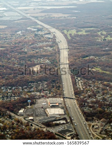 aerial view of major highway in new jersey - stock photo