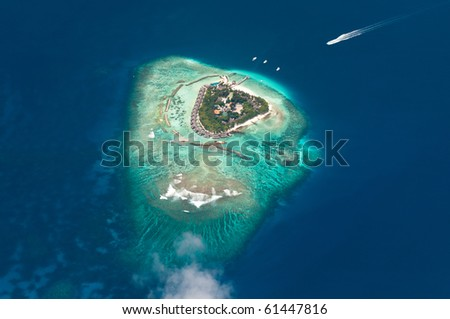 Aerial view of Maldive islands - stock photo
