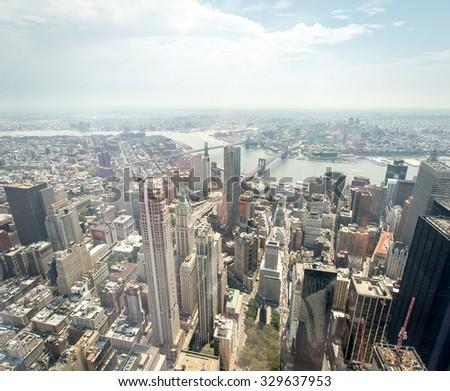 Aerial view of Manhattan - stock photo