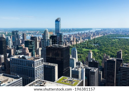 Aerial view of Manhattan central park  in New York - USA - stock photo