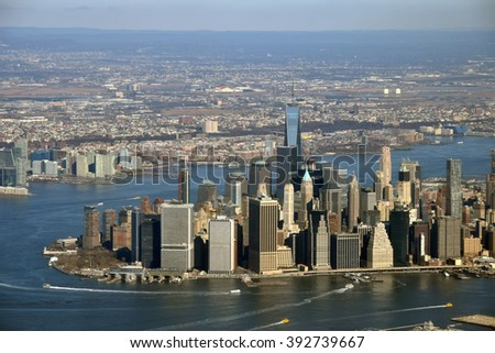 Aerial view of Manhattan new York City - stock photo
