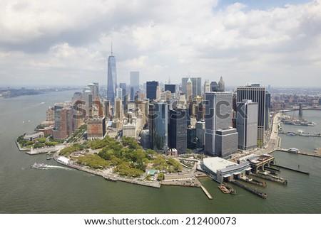 Aerial view of  Manhattan, New York City, U.S.A. - stock photo