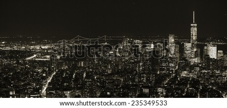 Aerial view of Manhattan NYC. - stock photo