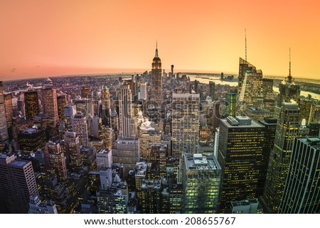 Aerial view of Manhattan skyline at sunset, New York City - stock photo