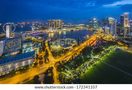 Aerial view of Marina Bay, Singapore - stock photo