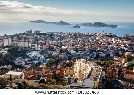 Aerial View of Marseille City and Islands in Background, France - stock photo