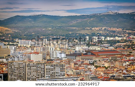 Aerial View of Marseilles City, France. - stock photo