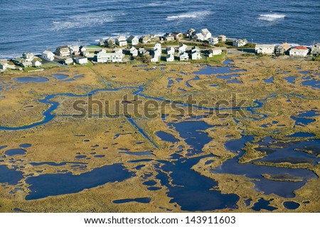 Aerial view of marsh and Rachel Carson Wildlife Sanctuary in Wells, south of Portland, Maine - stock photo