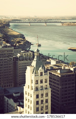 Aerial view of Memphis and Mississippi River, Tennessee, USA. - stock photo