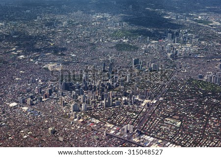 Aerial view of Metro Manila, Philippines. - stock photo