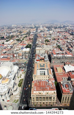 Aerial view of Mexico city and he Palacio de Bellas Artes, pronounced artistic monument by UNESCO in 1987 - stock photo