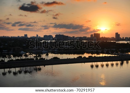 Aerial view of Miami at daybreak - stock photo