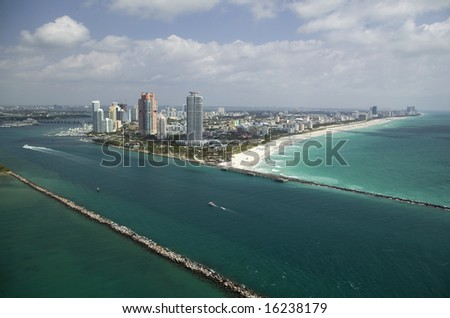 Aerial view of Miami Beach's Government cut - stock photo