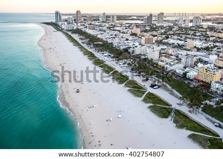 aerial view of miami florida south beach and hotel at dusk, spring 2016 - stock photo